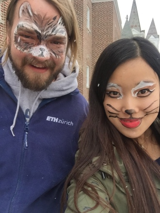 Erik (Racoon) and Jia (Cat) with their awesome face paint